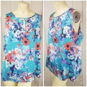 Womens Ann Taylor Sleeveless Blue Floral Blouse